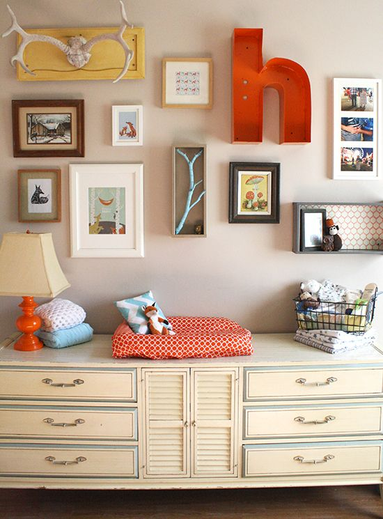 Baby Harvey's orange and teal woodland creature inspired nursery | Chicks Who Give A Hoot