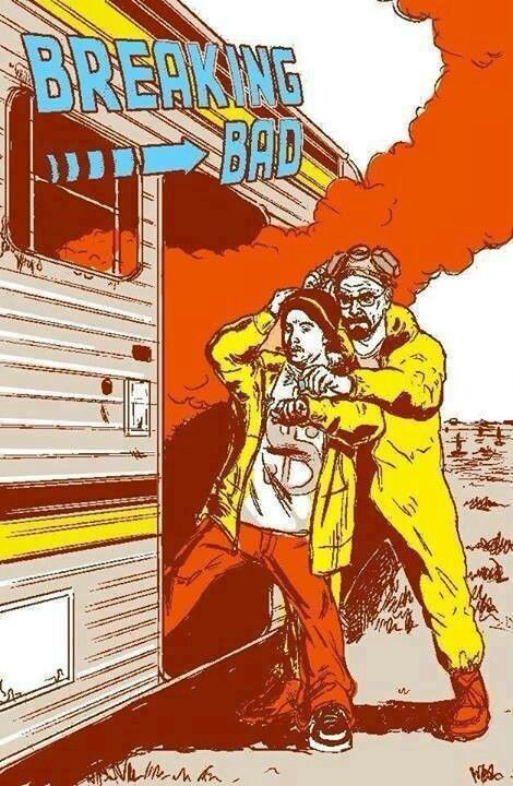 Breaking Bad in the style of Back to the Future.