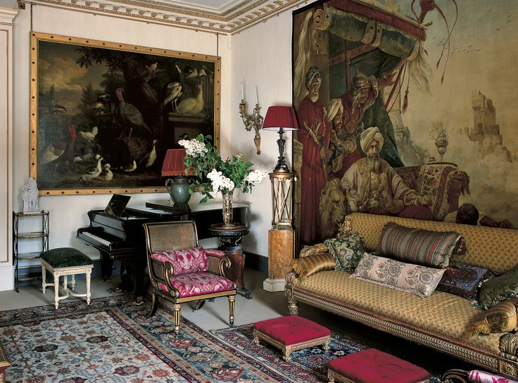 Designer Robert Kime gave the garden room of Clarence House (the London residence of the Prince of Wales and the Duchess of Cornwall) a dashingly bohemian air with Regency and Victorian overtones. Many furnishings in the residence were inherited from the Queen Mother.