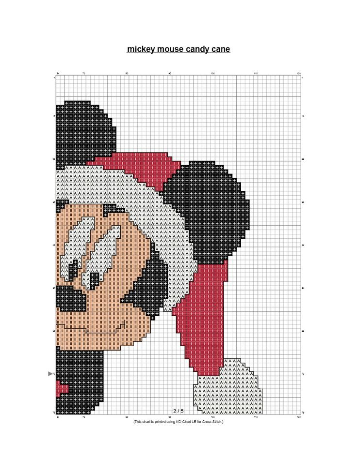 Mickey Mouse with Candy Cane Cross Stitch Chart