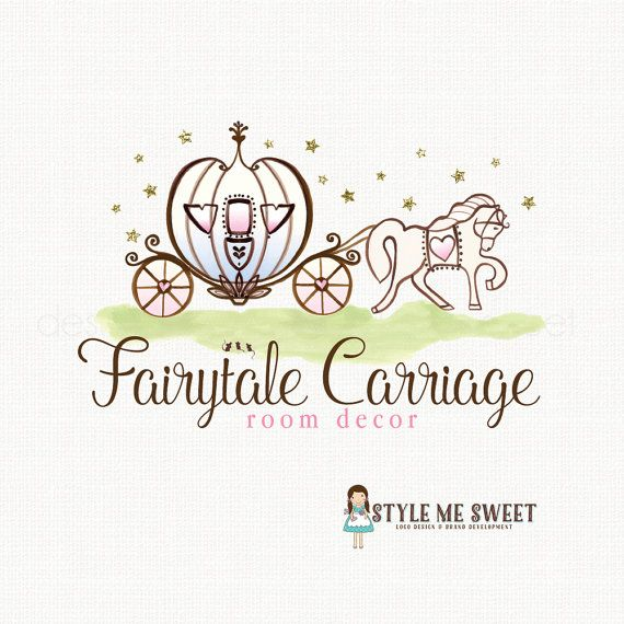 princess logo pumpkin carriage logo by stylemesweetdesign on Etsy