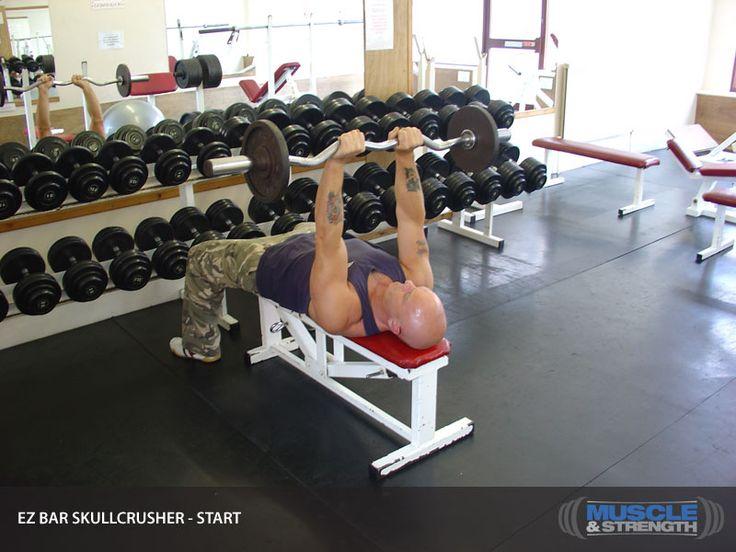 Triceps 6 ----- EZ Bar Skullcrusher Video Exercise Guide & Tips | Muscle & Strength