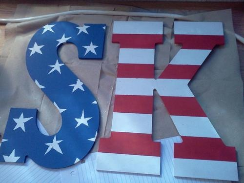 Merican flag Sigma Kappa letters I painted for my wall!