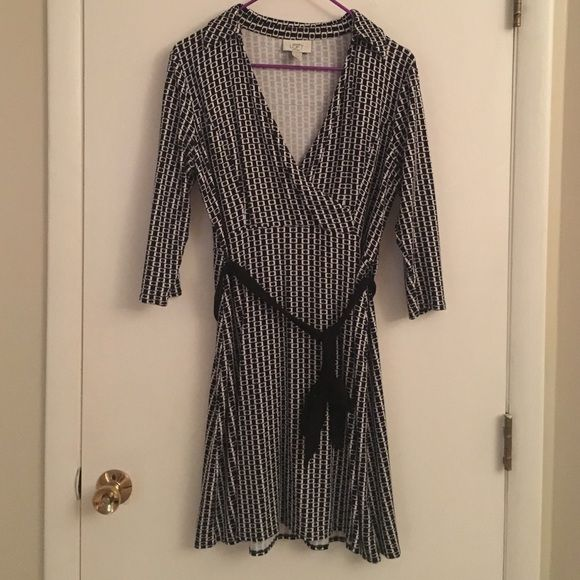 Anne Taylor Loft dress Black and white pattern with belt loops and belt. Used but no flaws. LOFT Dresses Midi