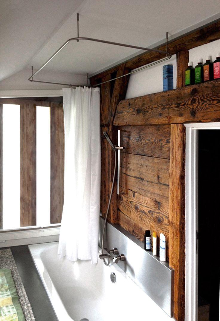 die besten 25 duschvorhangstange ideen auf pinterest deckenbefestigung rustikale. Black Bedroom Furniture Sets. Home Design Ideas