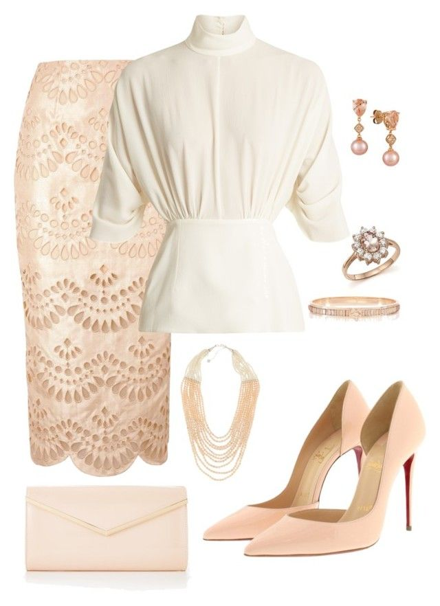 Peach Perfection by sommer-reign on Polyvore featuring Emilia Wickstead, Keepsake the Label, Christian Louboutin, NAKAMOL, Bloomingdale's and LE VIAN