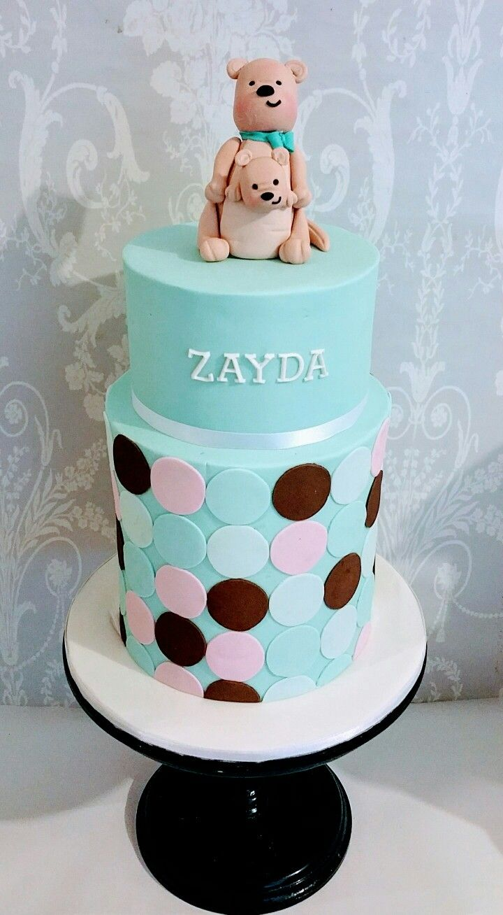 Polka dot cake with kangaroo sugar topper.