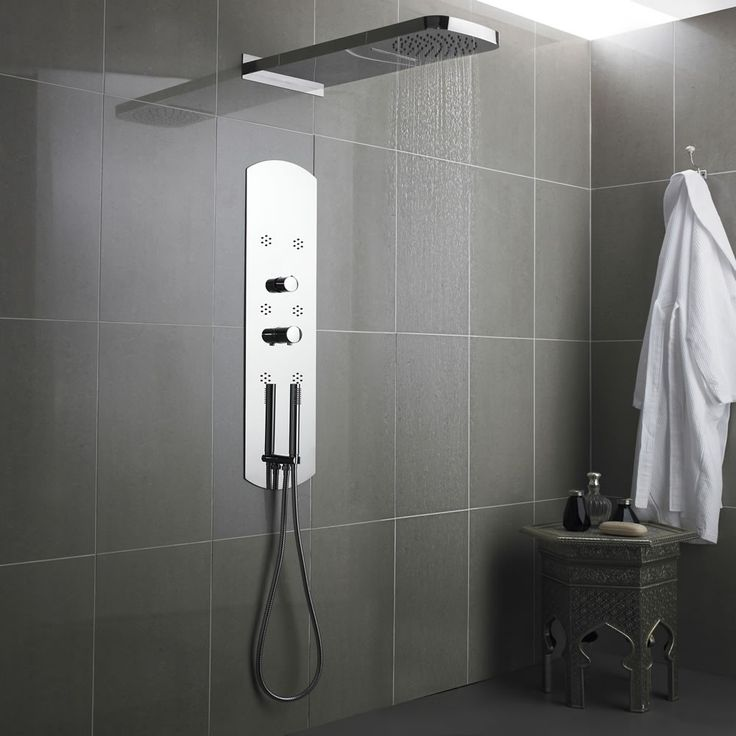 Interval Chrome Fully Recessed Thermostatic Shower Panel Head Panels