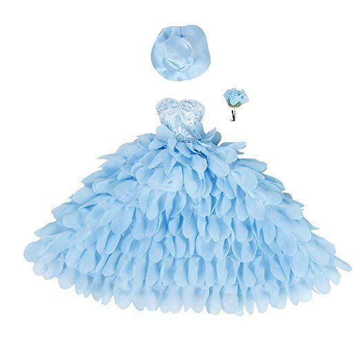 Blu Vestito Floreale Da Sposa In Pizzo Abito Da Sposa Con Il Cappello Ed Il Fiore Per Le Bambole Barbie