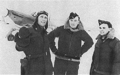 SOVIET AVIATION in the years 1941-1945 WW2. Soviet pilot Boris Safonov and British pilots Miller and Howe, the Soviet order of Lenin for flights in the sky of the Soviet Arctic. October 1941
