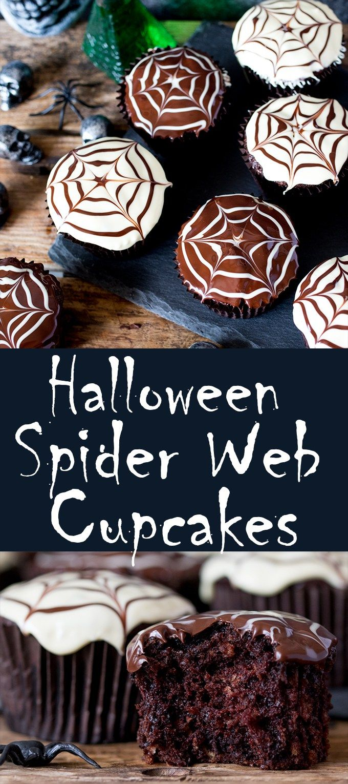 Halloween spider decorations - Halloween Spider Web Chocolate Cupcakes