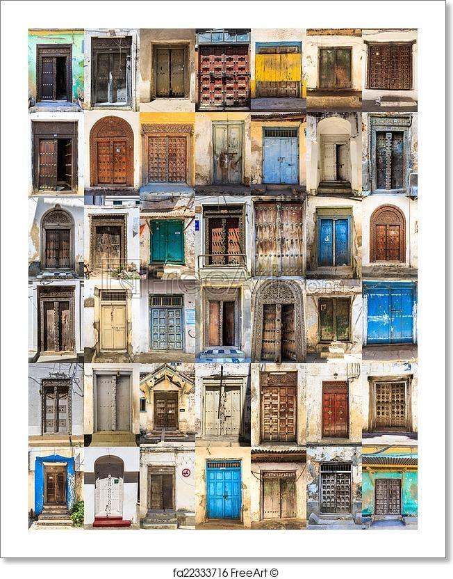 """42 Front doors horizontal collage of Stone Town, Zanzibar"" - Art Print from FreeArt.com"