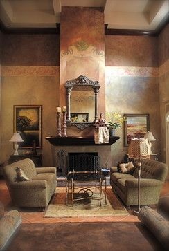 Tuscan Living Room With Awesome Wall Border And Painting Technique Art Mirror Over Mantel Loveseats Coffee Table Natural