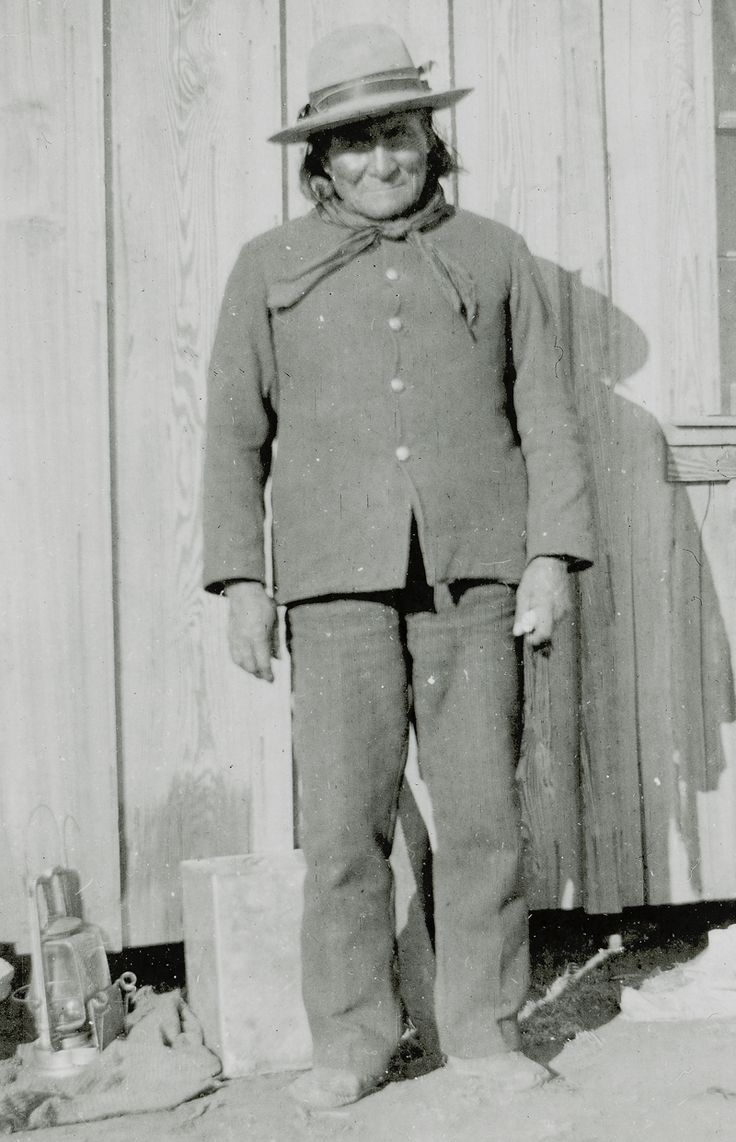 Geronimo at Fort Sill, Oklahoma, where he enlisted as an Indian Scout for three years on June 11, 1897. As his enlistment paper shows, he was 63 years old at the time.