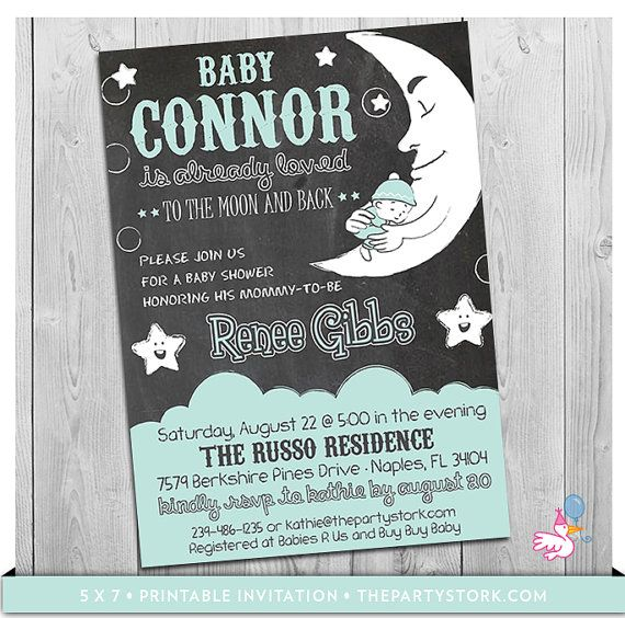 Moon And Stars Baby Shower Invitation Printable By