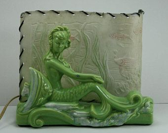 Vintage Mermaid TV Accent Lamp Night Light Green Ceramic Figurine Mid Century Modern Retro Kitsch Rockabilly Style Beach Nautical Novelty