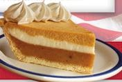 PUMPKIN SUPREME PIE: Pumpkin pie layered with a rich cream cheese filling and a smooth pumpkin cream cheese blend in a delicate crust. Sweet, whipped topping completes this decadent treat. Bob Evans