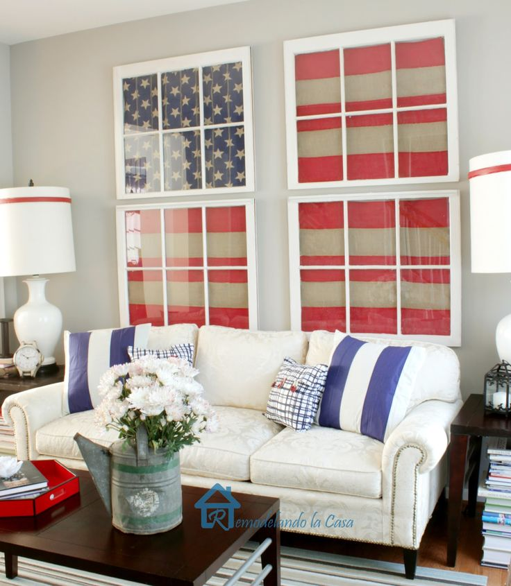 How to make American flag framed artwork with old windows and decorative burlap from Remodelando la Casa: Red, White and Blue Living Room