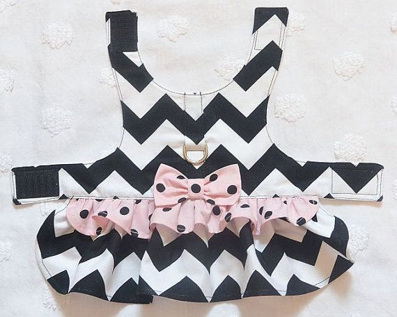 Dog Harness Dress Black Chevron with Pale Pink by piddleronthewoof