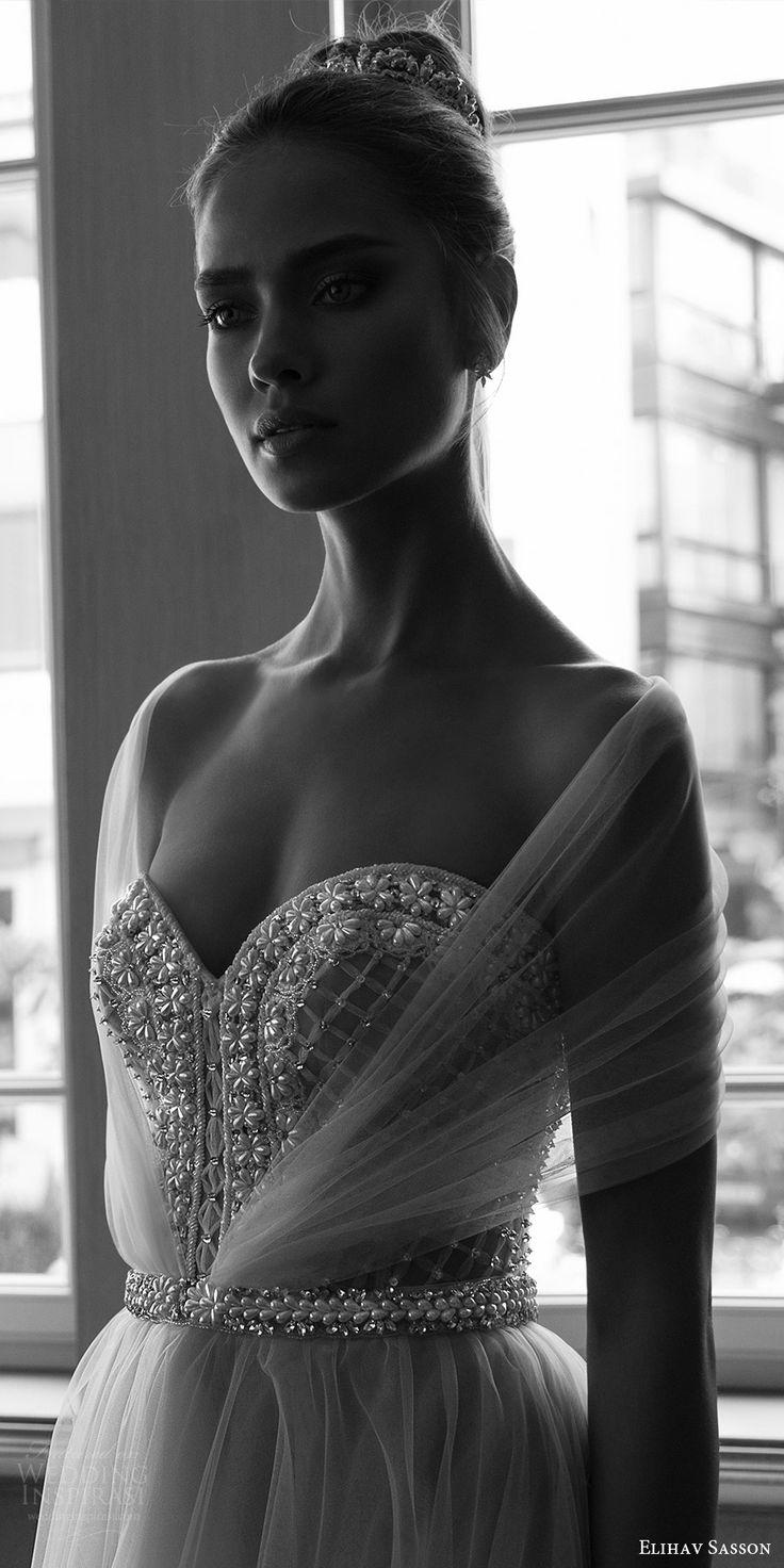 elihav sasson spring 2018 bridal illusion half sleeves sweetheart beaded bodice ball gown wedding dress (vj 006) zfv train princess romantic -- Elihav Sasson 2018 Wedding Dresses