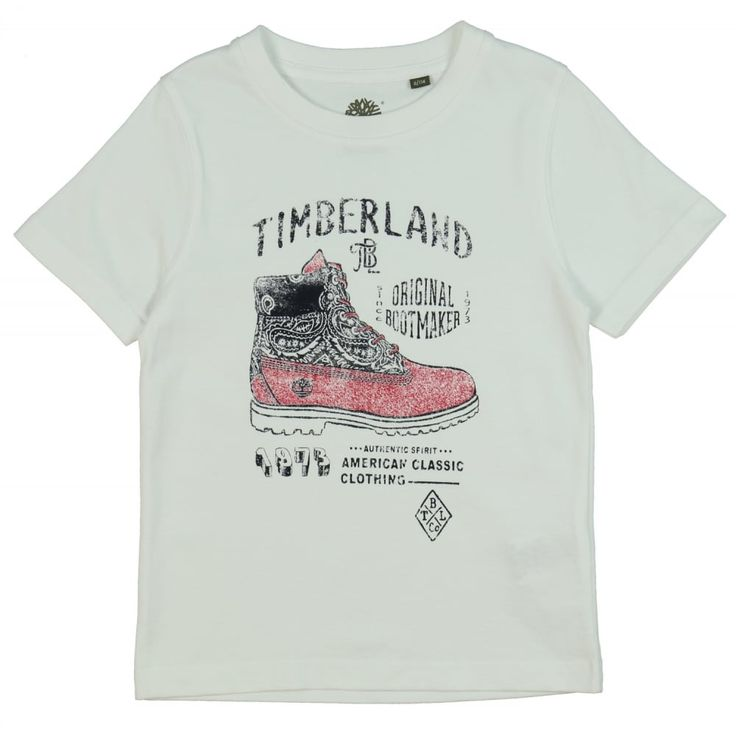 Boy's White T-Shirt with Red Boot Print. Now available at www.chocolateclothing.co.uk