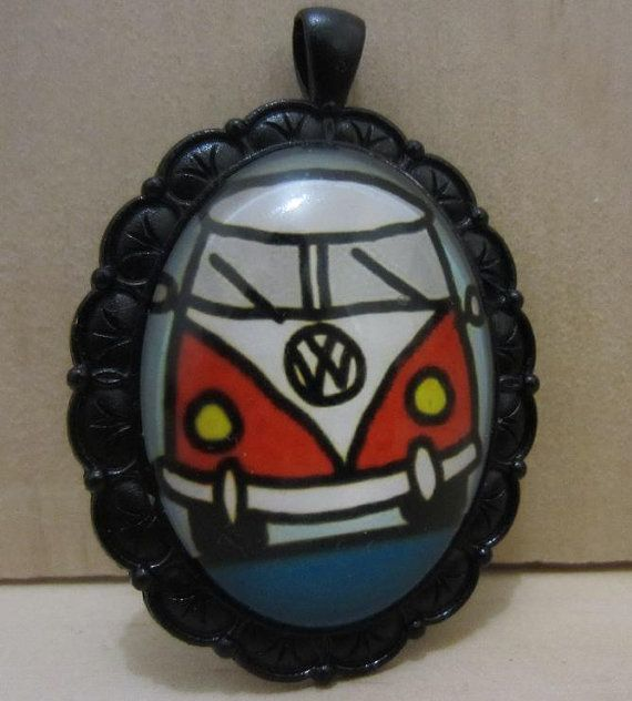 VW Kombi Volkswagen cameo necklace by ImodFashion on Etsy