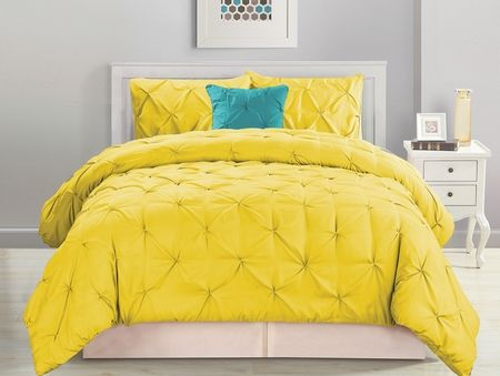 4 Piece Pinched Pleat Yellow Comforter Set