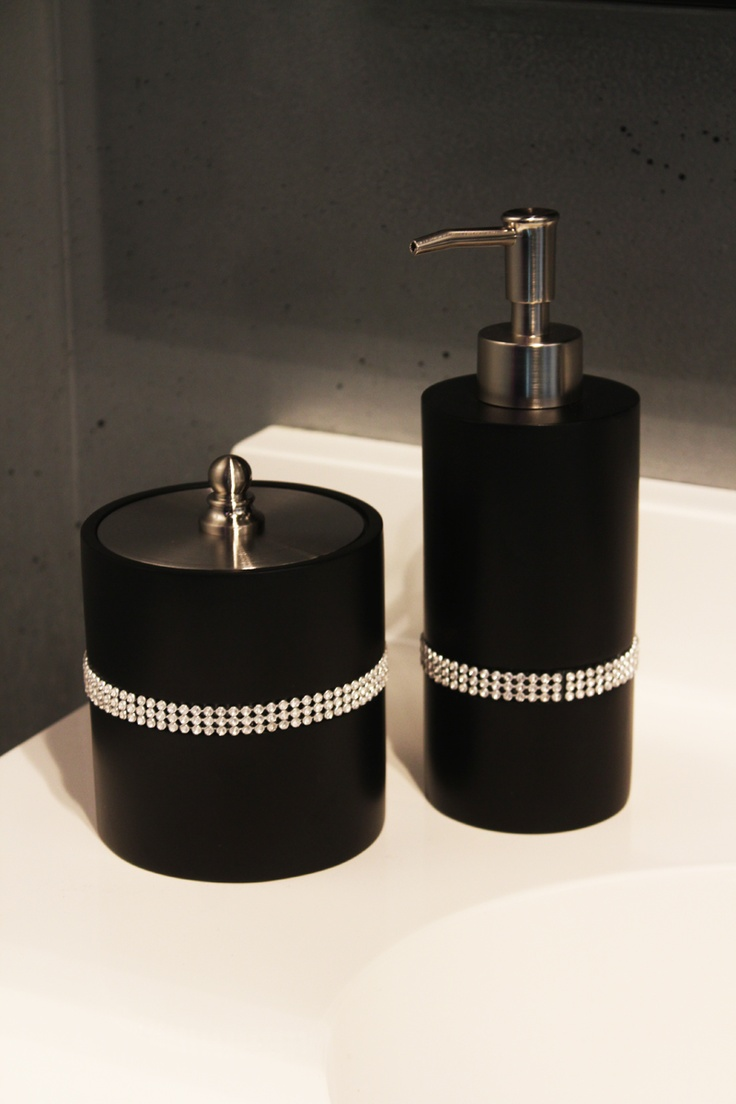 78 best images about bling on pinterest lighter black for Bathroom accessories with rhinestones