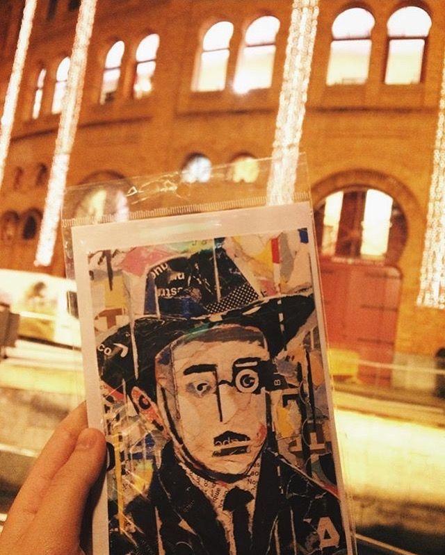 FERNANDO PESSOA portrait on postcard / Photo by a lovely customer in MERCADO DE NATAL do CAMPO PEQUENO