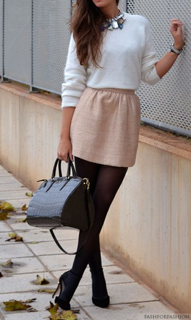 white sweater + light pink skirt + black tights