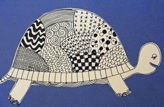 OiLs lesson: Line Drawing Art Lessons:Turtles