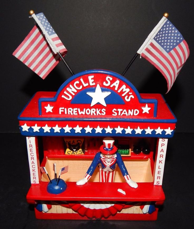 Heartland Valley Village Lighted House: Department 56 UNCLE SAMS FIREWORKS STAND Independence Day
