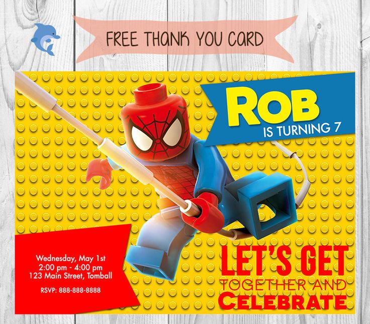 189 best cumple spiderman lego images on pinterest | kid parties, Birthday invitations