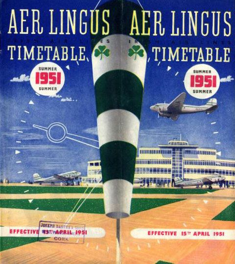 Aer Lingus summer timetable for summer 1951, featuring Dublin Airport's passenger terminal.
