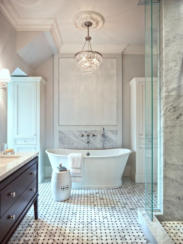 Flush mount crystal bathroom traditional with carrara marble french blue mosaic marble tile freestanding bathtub wall mounted tub filler crystal chandelier plaster mouldings white garden stool blue grey bathroom tile pendant chand