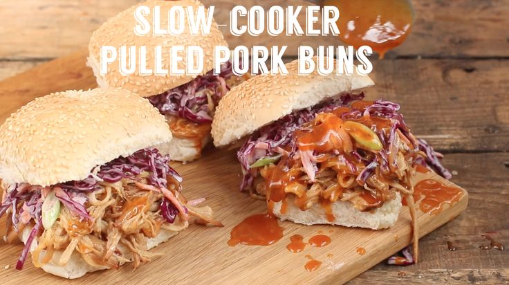 How to cook easy slow-cooker pulled pork buns. Serve with coleslaw and apple sauce!