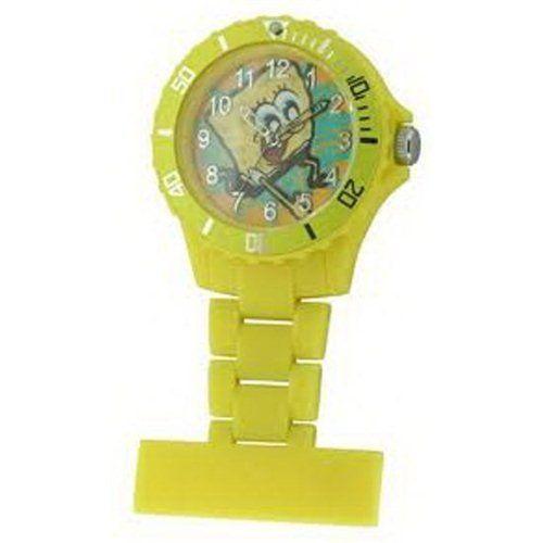 Spongebob Squarepants Water Resistant Yellow Rotating Bezel Nurse Fob Watch SB35 @ niftywarehouse.com #NiftyWarehouse #Spongebob #SpongebobSquarepants #Cartoon #TV #Show