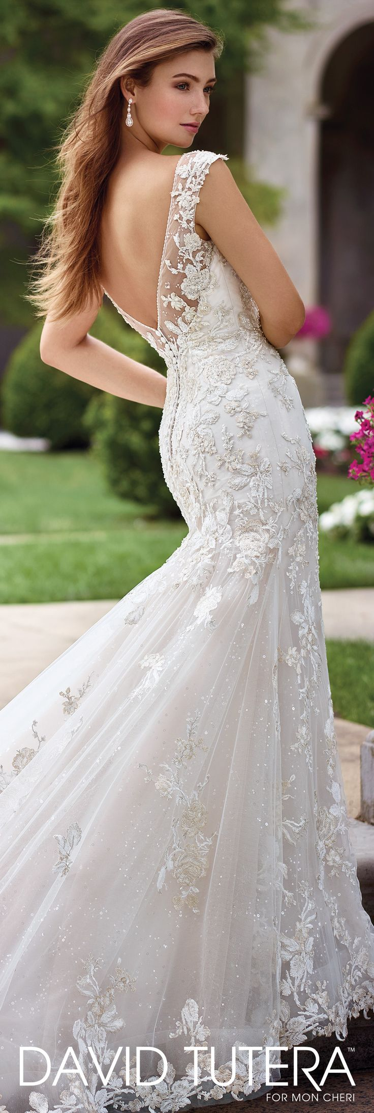 David Tutera for Mon Cheri Spring 2017 Collection - Style No. 117286 Citrine - lace and sequin tulle cap sleeve wedding dress with low V-back