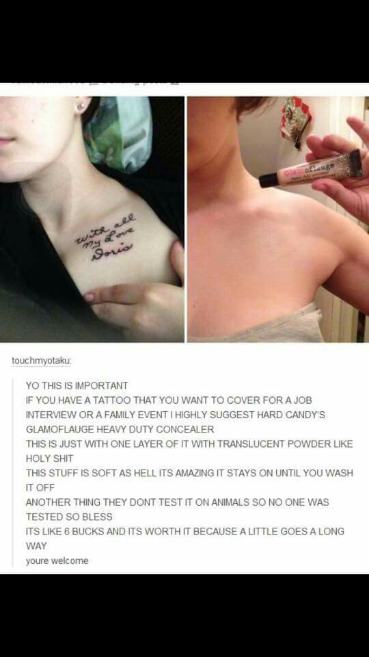 Hard Candy camouflage concealer can hide a tattoo for special occasion, job interview, etc