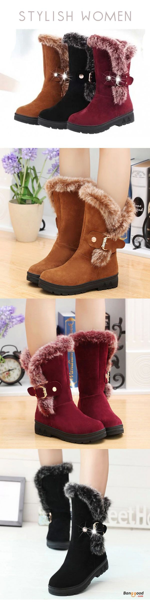 US$32.99 + Free shipping.  Women Winter Boots Ankle Short Boots Artificial Fur Snow Boots. US Size: 5-10. Color: Black, Wine Red, Camel  >>> To view further, visit now.