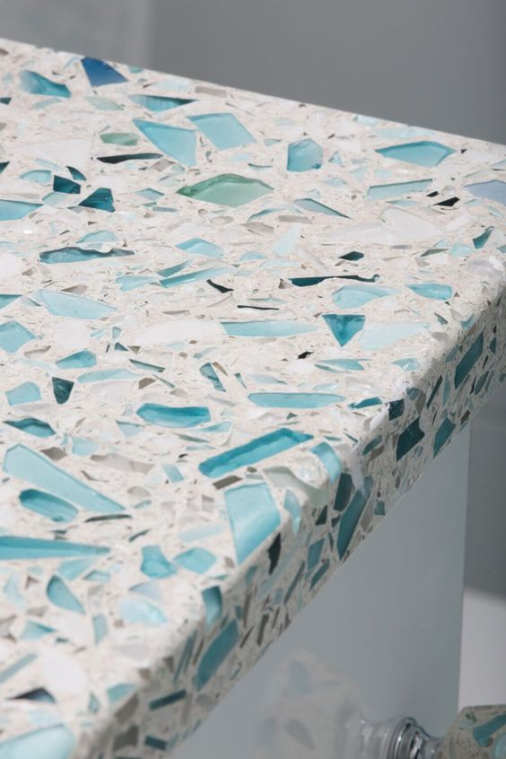 sea glass-inspired recycled glass countertop by Vetrazzo