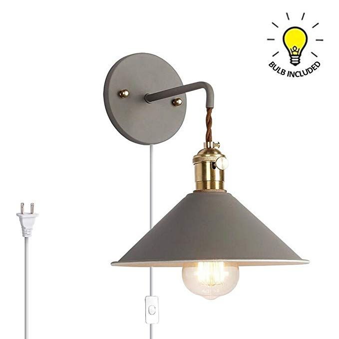 Kiven Nordic Wall Sconce One Cable Mains Plug And On Off Switch Silver Grey Macaron Bedside Reading Light E26 Edison Copper Lamp Hold Bedside Reading Light Copper Lamps Sconces