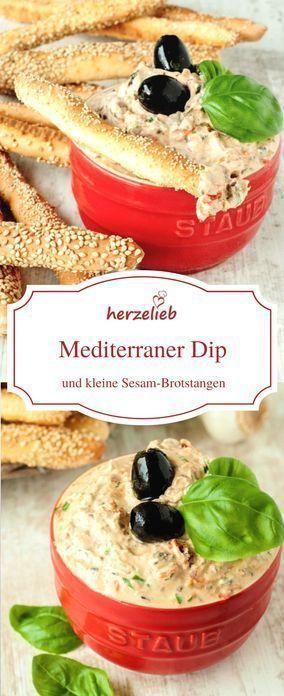 Ein mediterraner Dip und kleine Brotstangen