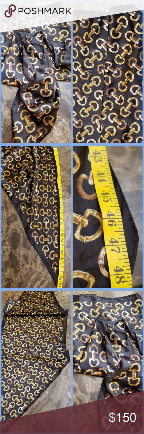 Rare Vintage Bamboo Horsebit Silk Gucci Scarf/Wrap Gorgeous Rare Vintage Black/G…   – My Posh Picks