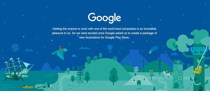Google Play Store illustrations on Behance