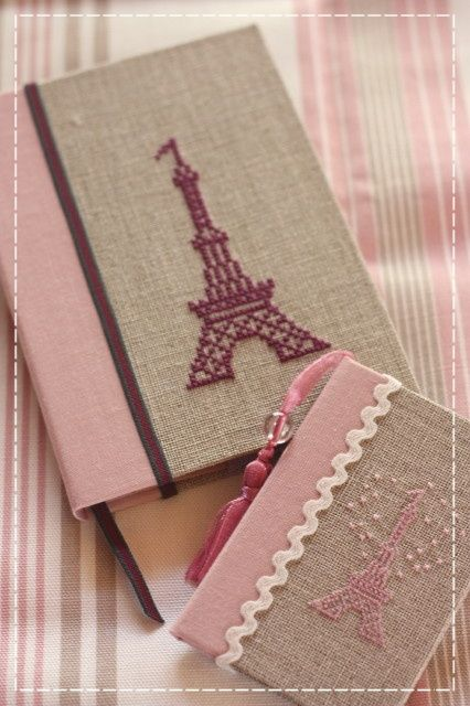 handmade book cover. cross stitch. craftwork