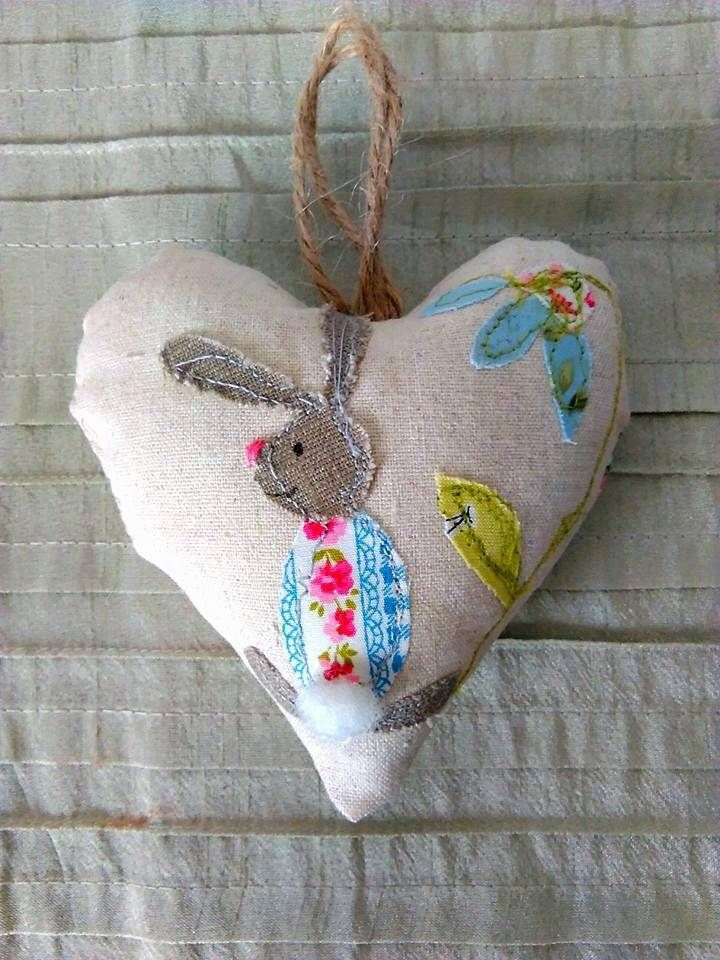 Free Style embroiderd appliqued heart, rabbit and flower heart, appliqued heart. by KitchenFairiesLeeds on Etsy
