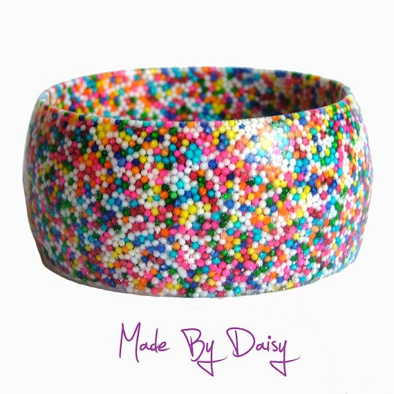 Rainbow Resin Bangle Bracelet Hundreds and by madebydaisy, £25.00
