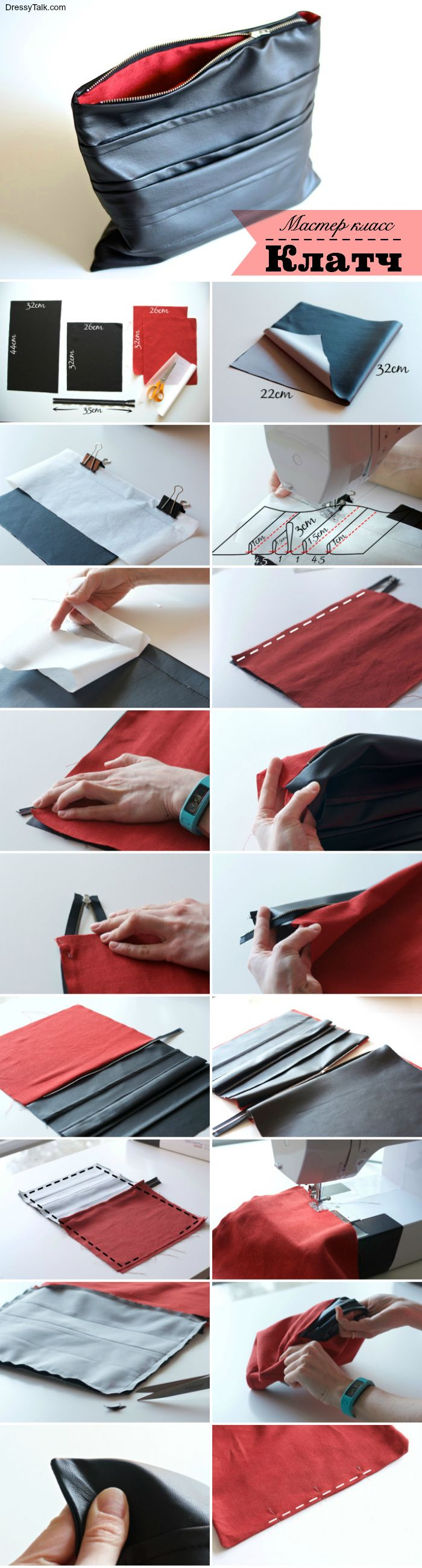 Faux leather clutch sewing tutorial, click through to get tips and tricks for sewing the faux leather