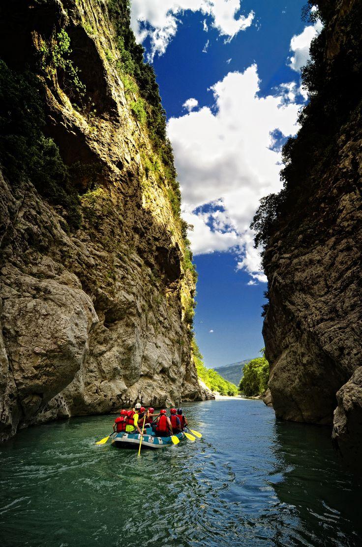 Rafting in River Arachthos at the Tzoumerka Mountain Range in Epirus, Greece.
